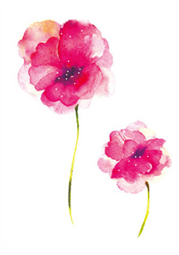 Fiori Watercolor.Pink Flowers Temporary Tattoo Sticker Waterproof Watercolor Peony