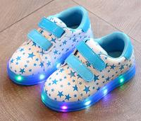 2017 New Spring Children Shoes Boys Girls Pu Leather No Silp Sneakers Star LED Lights Casual