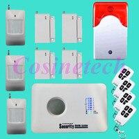 Günstige alarmsystem SMS alarm Wireless GSM Alarm System 315/433 MHz Hause einbrecher System mit wireless strobe sirene