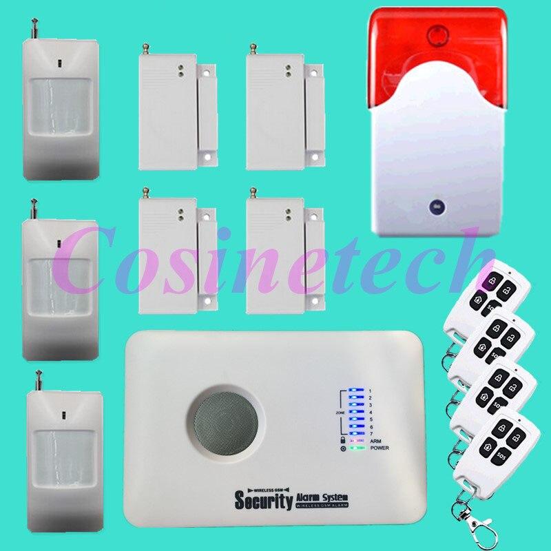 Système d'alarme pas cher SMS alarme sans fil GSM système d'alarme 315/433 MHz système de sécurité antivol à domicile avec sirène stroboscopique sans fil