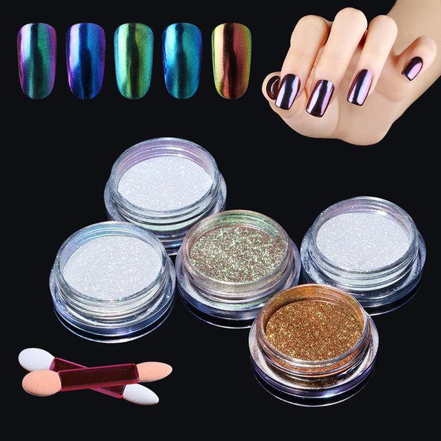 HNM Magic Mirror Chrome Glitter Powder Spangles for Nails Metallic ...