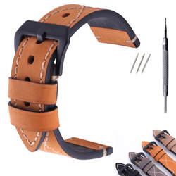 Толстые из натуральной кожи ремешок 26 мм 24 22 20 Смотреть Band Серебро наручные часы для Pan Pam ремешки наручных часов