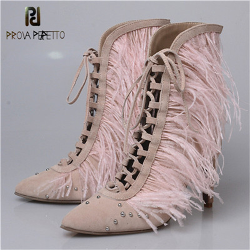 Prova Perfetto Fashion Splice Tassels Feather Point Toe Thin High Heel Shoes Rivet Cross tied Hollow