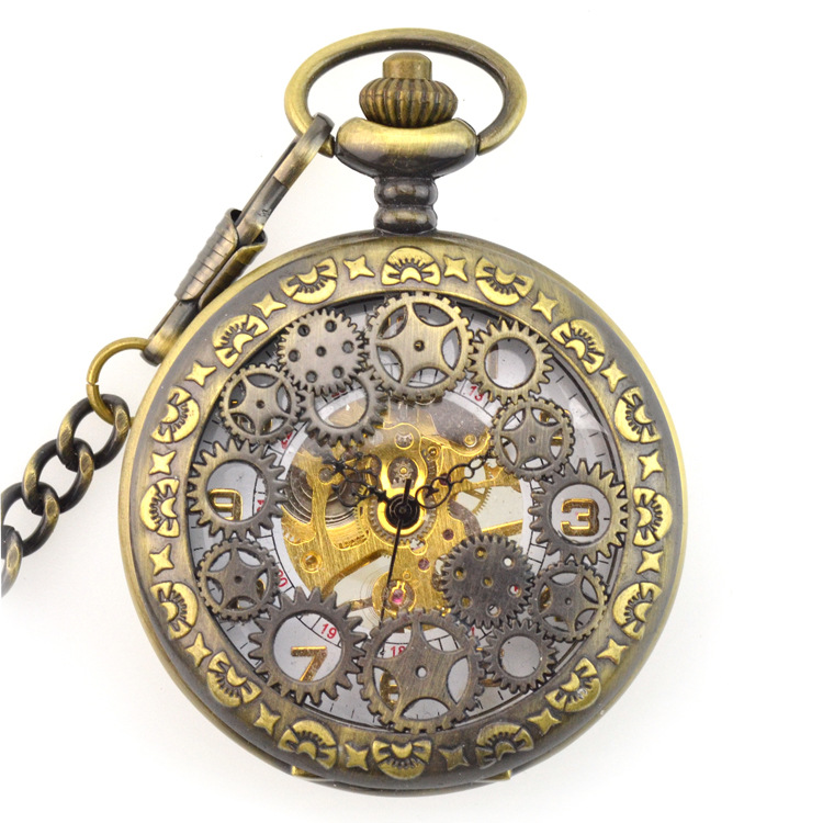 Brown Antique Gear Skeleton Mechanical Hand Wind Pocket Fob Watches Clamshell Men's Watch Pendant Necklace Retro Souvenir Gift antique pocket watch transparent steampunk double open hunter gear mechanical hand wind fob time hours with chain pendant gift