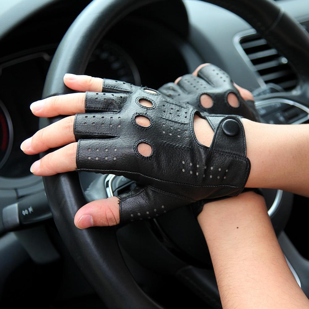 Kulit asli Sarung Tangan Semi-jari Laki-laki Gaya Bernapas Lubang - Aksesori pakaian - Foto 4