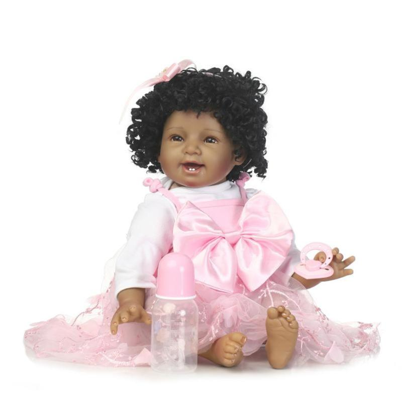 Lifelike Smile Dress Reborn Baby Girl Doll Simulation Kids Silicone Doll Gifts Playmate Soft Toys With Nipple Feeding Bottle new arrival 55cm blue eyes pink clothes lifelike baby soft girl doll with free plush toy as kids xmas gifts birthday doll toys