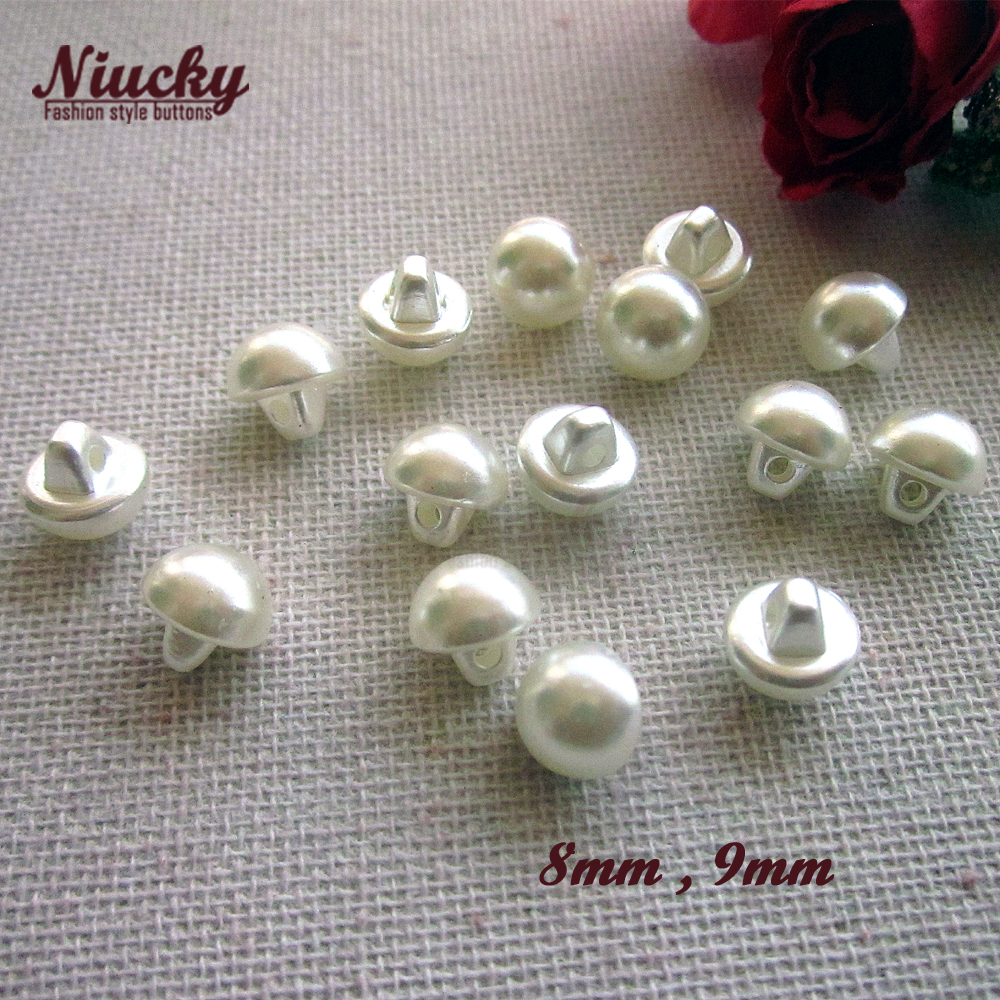 Niucky 8mm/ 9mm Shank Eco-friendly Mini Imitation pearl buttons for clothing wedding dress sewing decorative materials P0301-010