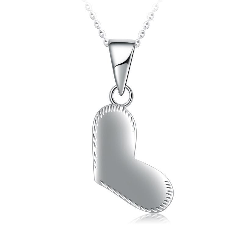 Classic Platinum Real White Solid Gold Glossy Heart Diamond Carve Pendant Necklace PT950 Clavicle for Women Fine Wedding JewelryClassic Platinum Real White Solid Gold Glossy Heart Diamond Carve Pendant Necklace PT950 Clavicle for Women Fine Wedding Jewelry