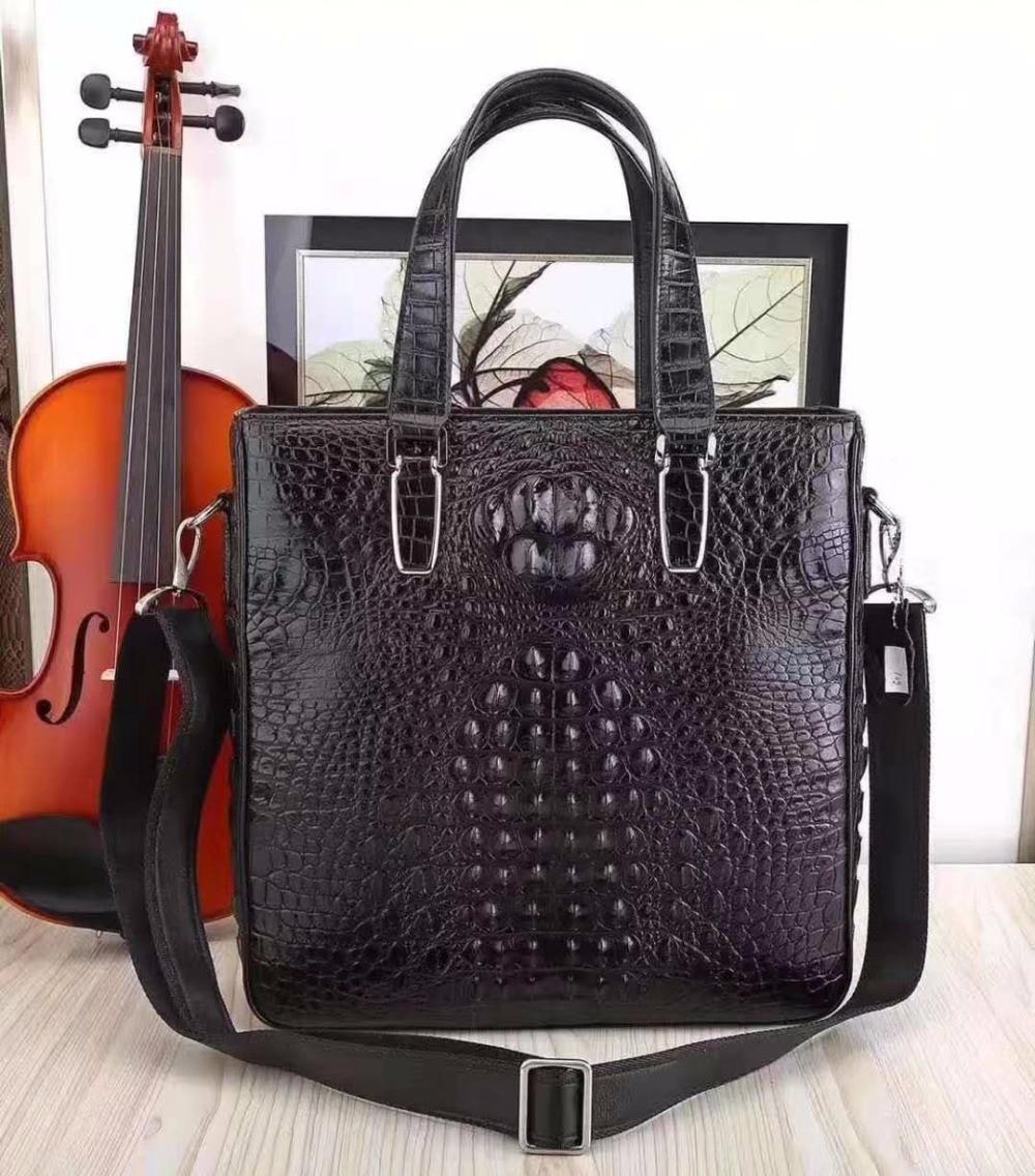 2018 100% Genuine Real Crocodile Leather Head Skin Men Business Bag Young Men Leisure Shoulder Bag Long Top Handles With Strap
