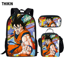 THIKIN 3Pcs/Set Dragon Ball Z School Bag for Boys Super Sanyan Sun Goku Kids Backpack Children Book Teenagers Schoolbag Set