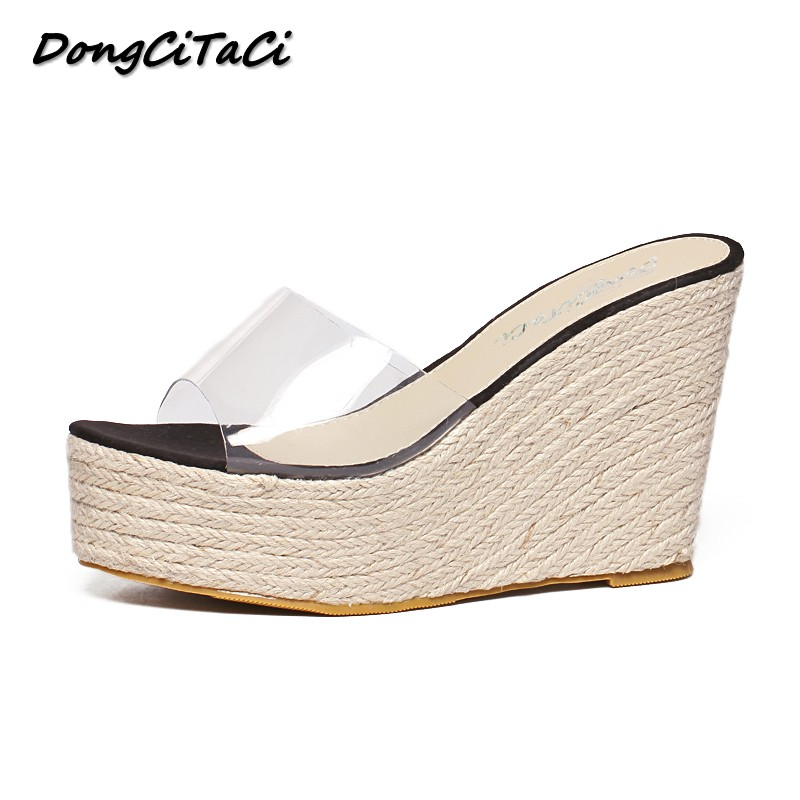 DongCiTaCi 2018 Summer Women Wedges Sandals Shoes Woman Thick bottom Slippers Transparent Straw Hemp Rope Plarforms SandalsDongCiTaCi 2018 Summer Women Wedges Sandals Shoes Woman Thick bottom Slippers Transparent Straw Hemp Rope Plarforms Sandals