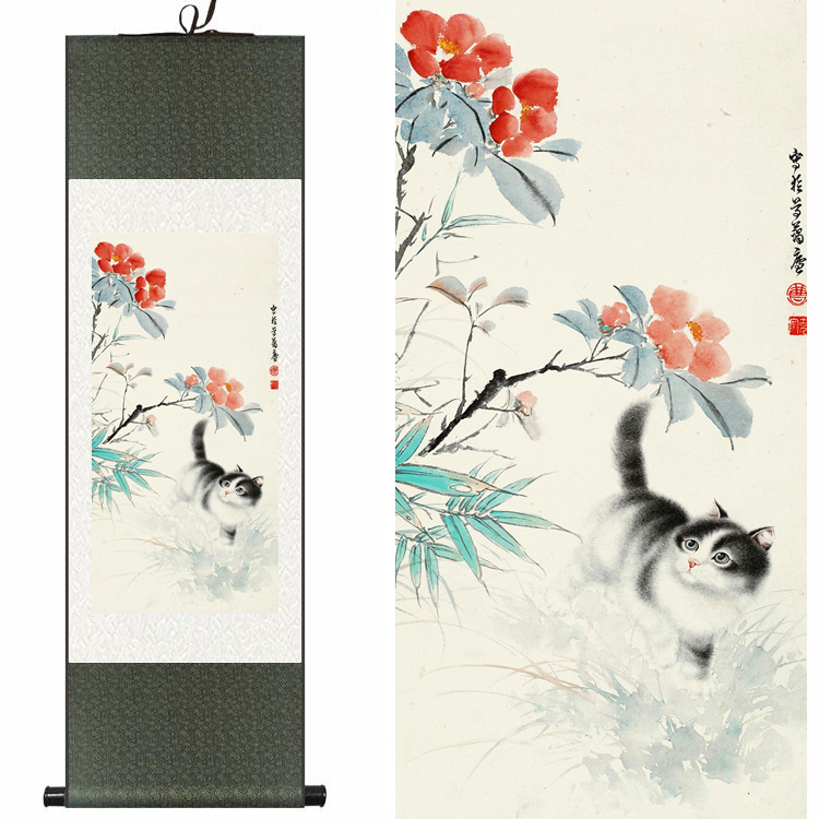 chinese silk watercolor flower animals cats kitten ink art