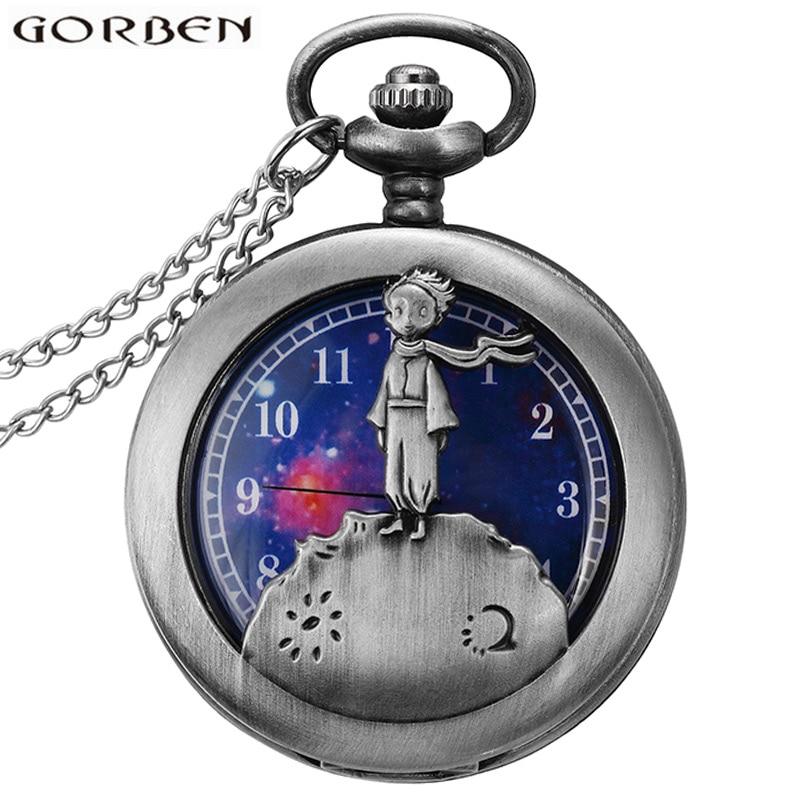 Vintage Little Prince Hollow Quartz Pocket Watch Necklace Bronze Chain Pendants Cute Stationary Children's Gifts