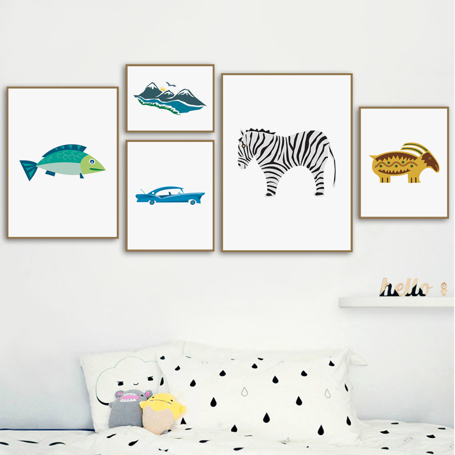 Cartoon Zebra Fish Car Mountain Minimalist Wall Art Canvas Painting Nordic Posters and Prints Pictures Baby Kids Room Decor
