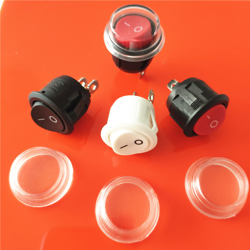 10pcs 20mm 3P ON//OFF Round Rocker Snap Switch SPST+Waterproof Cover Car Boat Van