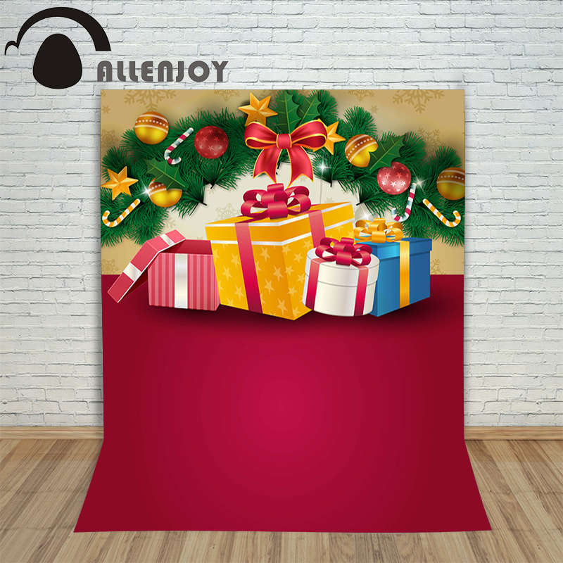 Allenjoy photography backdrops present gift xmas new year kids photocall merry baby shower Customize christmas backgrounds christmas background for photography wood flower green yellow rose colorful new born xmas customize photocall