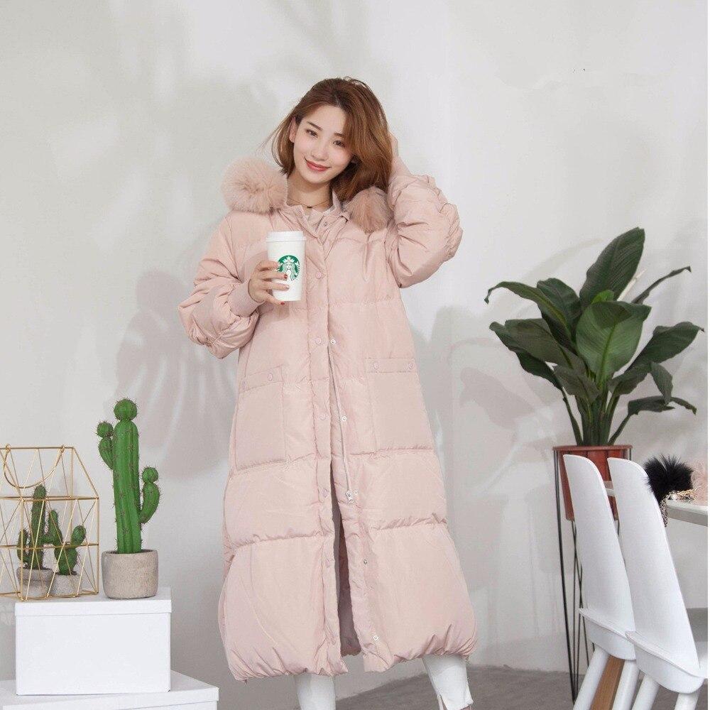 2018 Winter New Pink Women   Down   Jacket Female Long Section Sweet Wind Warm Fur Collar Slim Parkas Outwear   Coats