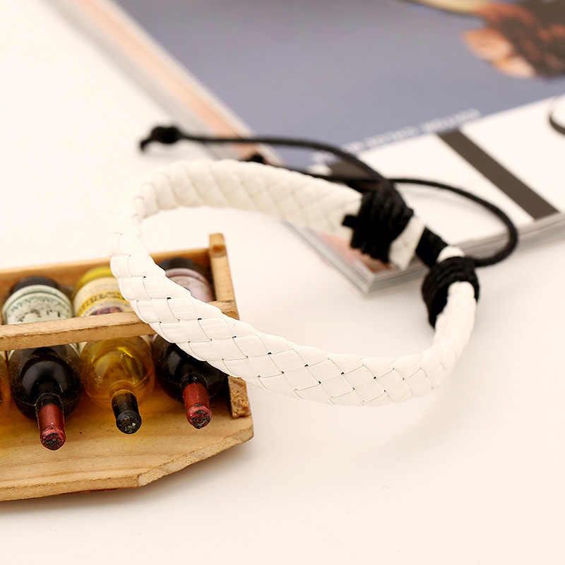 シンプルな編組ブレスレット PU レザーメンズレディースパンクリストバンド腕輪 8 LXH
