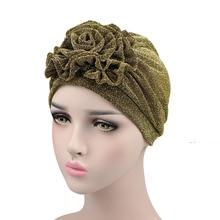Fashion Women Shiny 3D Floral Turban Polyester Discoid Flower Hat Headband Hair Accessories Chemo Cap Headwear for Woman