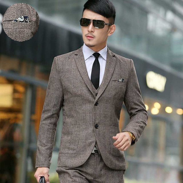 (Jacket+Vest+Pants)  2016 the new Men Wedding Suits Slim Tuxedo Brand Fashion Formal Costumes Business Dress Suits Blazer grid
