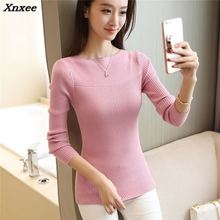 Xnxee 2018 women fashion sweater new autumn color stretch slim womens knitwear collar shirt