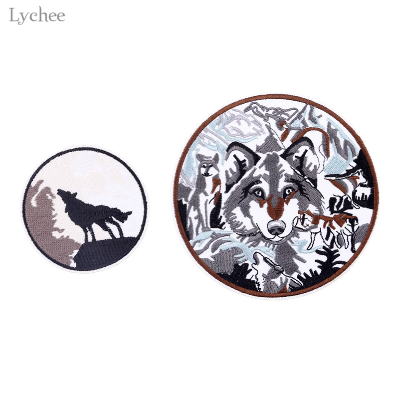 Diy Handmade Embroidered Patch: Aliexpress.com : Buy Lychee Round Embroidered Wolf Patch