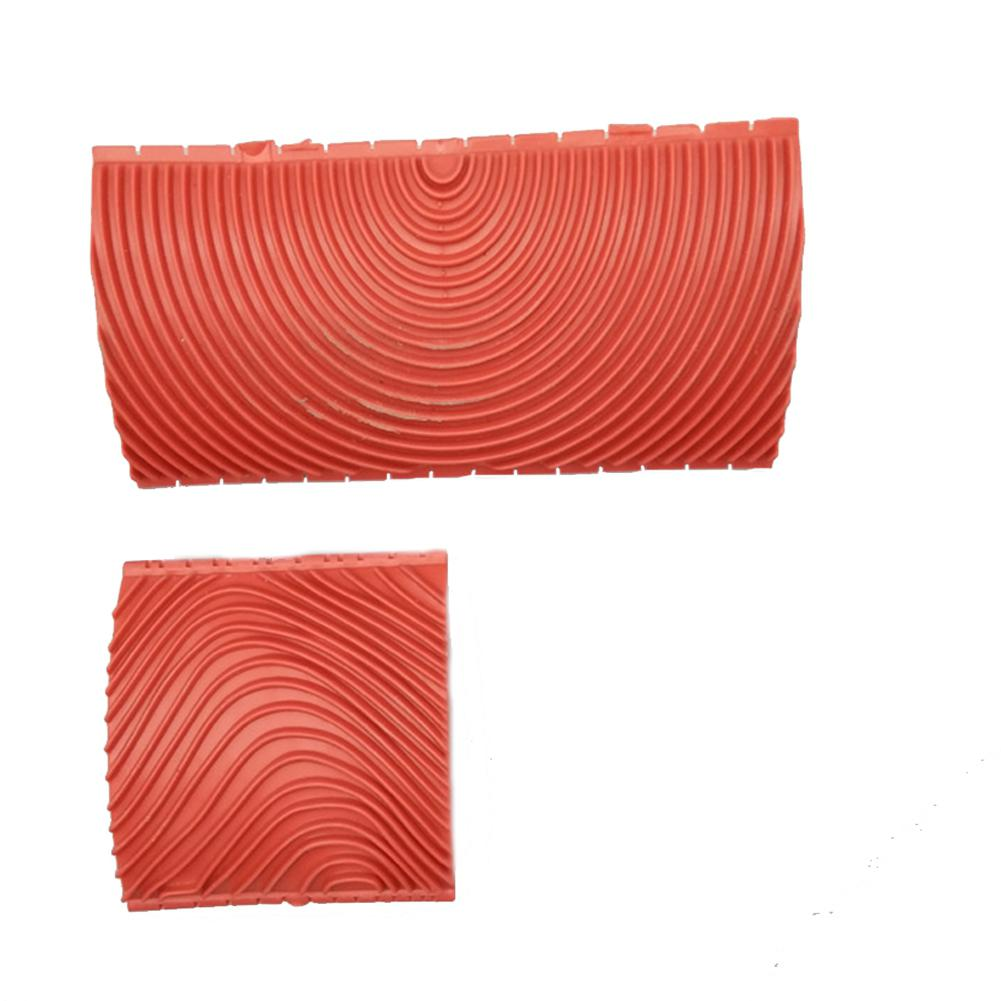2pcs/set  Red Wood Grain Granulated Rubber High Quality Patin Painting DIY Effects Wall Decoration Tools Large  Small Size