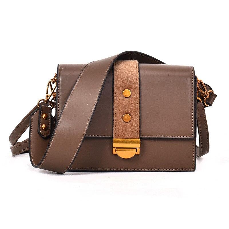 Women Trend Tide Wide Strap Bag Soft PU Leather Female Single Shoulder Bag Girl Small Square Lock Handbag Black Leather Bags