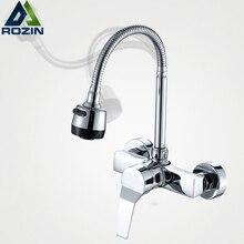 Бесплатная доставка поток спрей барботер ванная смеситель для кухни настенный двойной отверстие горячей и холодной воды гибкая труба Смеситель для кухни