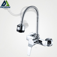 Free Shipping Stream Spray Bubbler Bathroom Kitchen Faucet Wall Mounted Dual Hole Hot And Cold Water