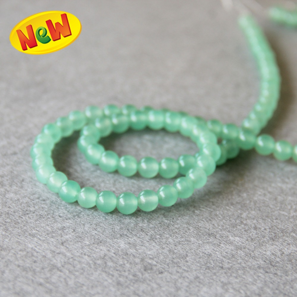 (Min Order1) 6mm Natural Light Green Chalcedony Beads Round Shape Stone Loose Beads 15inch Women Jewelry Making Design Wholesale