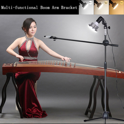 35W LED Light+Adjustable 1.3M Phone Photograph Bracket Stand with Boom Arm Photo Studio Continuous Lighting Kits for Live Video
