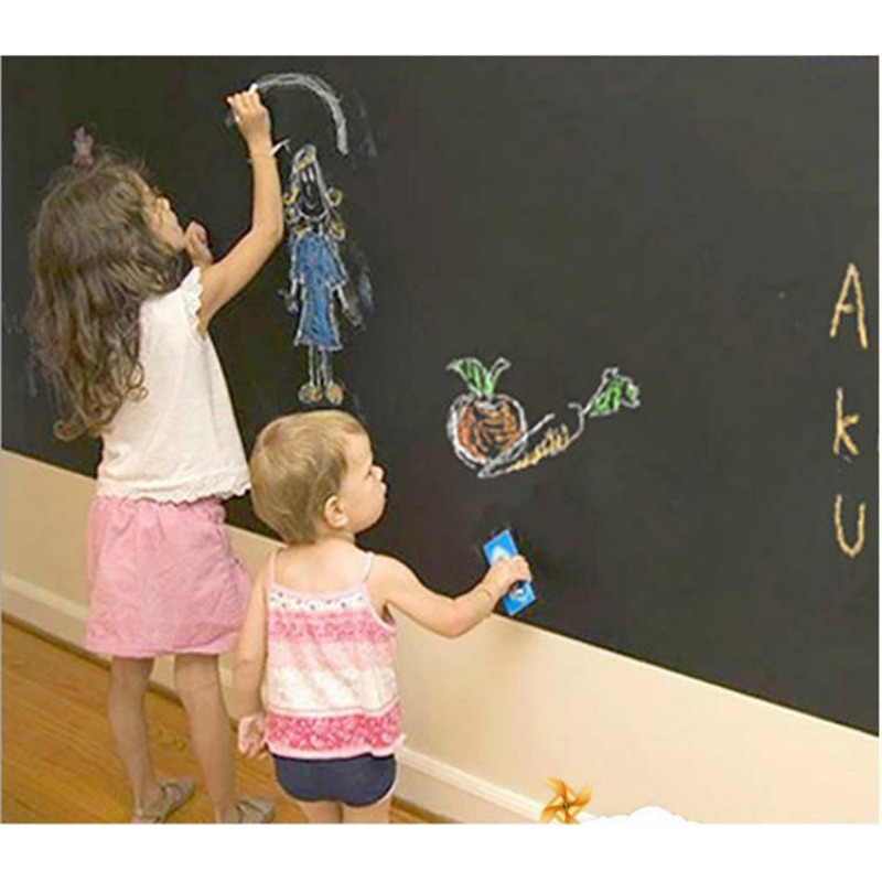 Muurstickers Behang Krijtbord Kinderkamer Decoratie Decoratief Schoolbord Sticking Black Muur Kids Paint Slate 15%