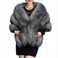באיכות גבוהה החורף פו מעילי פרווה מינק חיקוי פרוות שועל יוקרה הפרווה פונצ 'ו שכמיית צעיף שמלת כלה כלה נשים וסט הפרווה מעיל