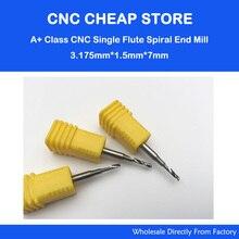 5 stks 3.175*1.5*7 MM Single Fluit Aluminium Snijgereedschap, End Mill Bits, spiraal Snijders, graveren Boren, CNC Router Gereedschap