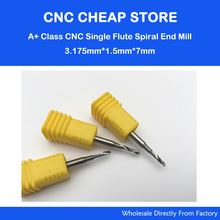 5pcs 3.175*1.5*7 MM Single Flute Aluminum Cutting Tools, End Mill Bits, Spiral Cutters, Engraving Drill Bits, CNC Router Tools