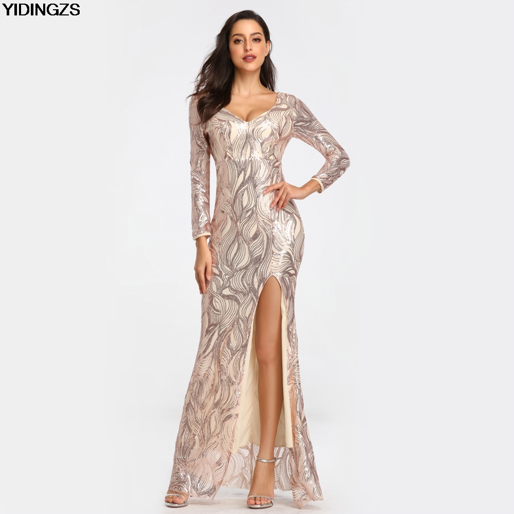 YIDINGZS Sexy Sequins   Prom     Dress   Womens V Neck Slit Long Sleeve   Prom   Party   Dress