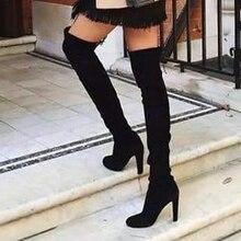 Женские ботинки г. Новые осенне-зимние ботфорты с острым носком, на толстой подошве, с боковой молнией эластичные ботинки женская обувь