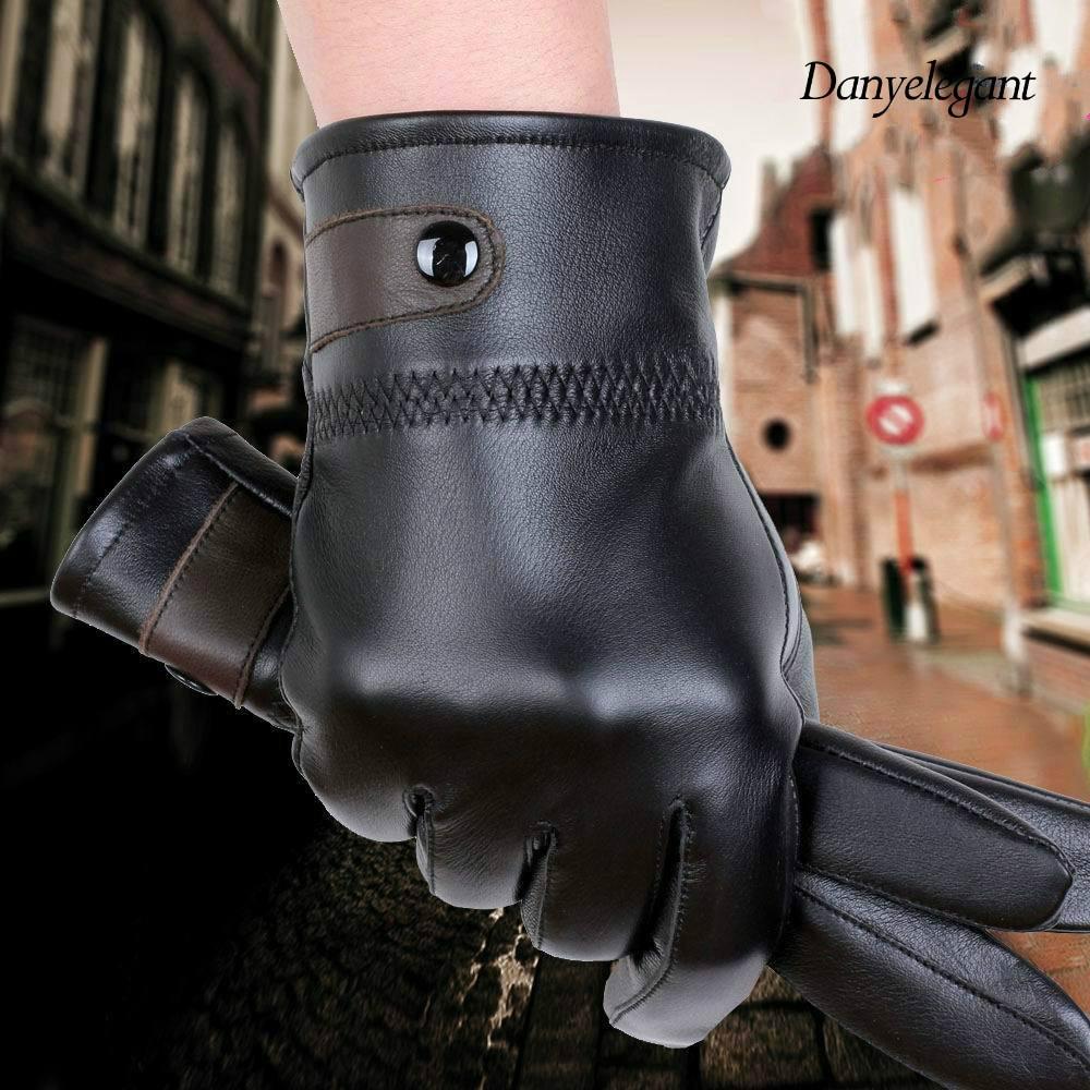 Mens velvet gloves - 2017 Genuine Leather Gloves Male Sheepskin Gloves Plus Velvet Thickening Thermal Autumn And Winter Genuine Leather