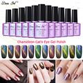 Beau Gel 1Pcs 10ml UV Chameleon Gel Nail 3D Magnetic Cat Eye Soak Off UV Gel Polish Glitter Varnish 24 Colors Gel Lak