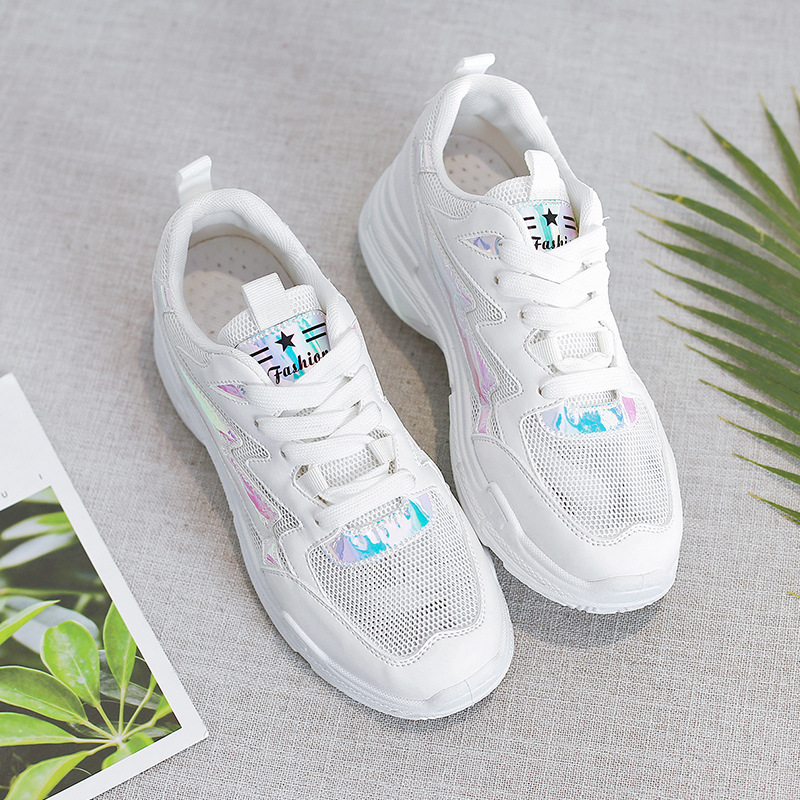Jookrrix 2018 Summer Fashion Lady Casual White Shoes Women Sneaker Breathable Girl Leisure Shoes Mesh Cross-tied Lace Up Shallow