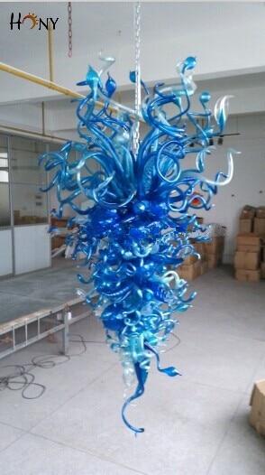 O Envio gratuito de Fantasia de Vidro Murano Azul Grandes Lustres Foyer Luzes Decorativas Para Casa