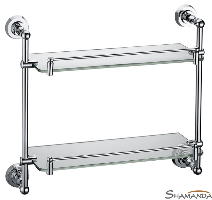 Free shipping-Double Bathroom Shelf /Glass Shelf,Brass Made with Chrome finish base+glass shelves,Bathroom Accessories-83015 free shipping golden single bathroom shelf glass shelf brass made base glass shelf bathroom hardware bathroom accessories 67011