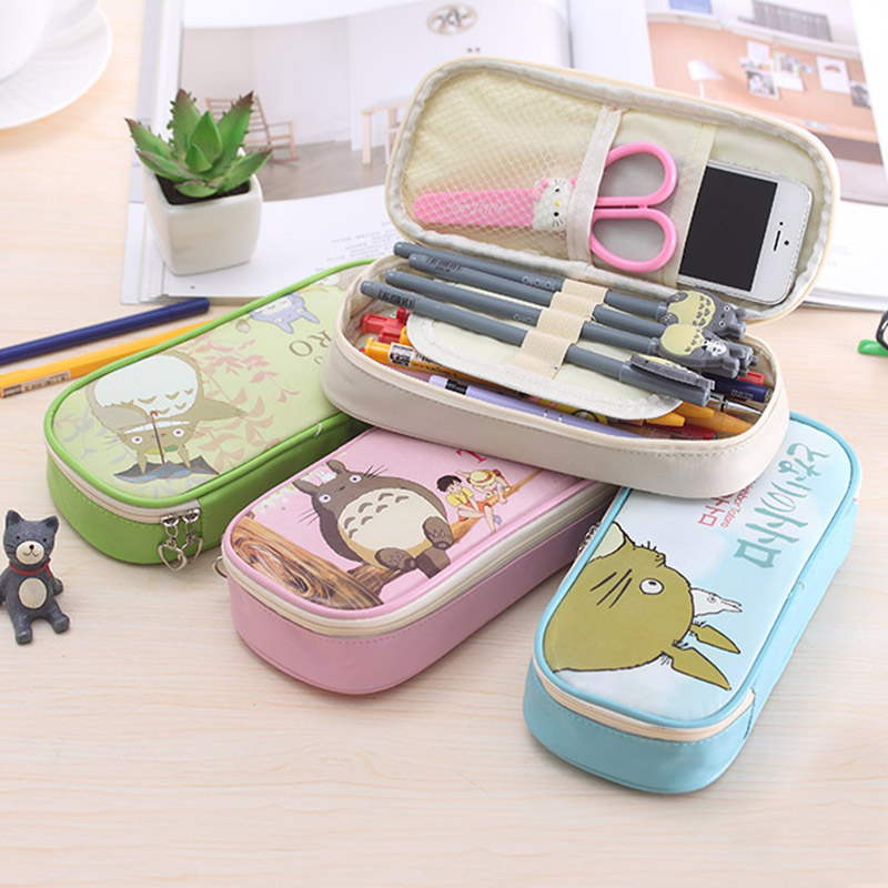 Student Cute Kawaii Cartoon Totoro Fabric Pencil Case Large School Pencil Bag Pen Box For Kids Statonery Gift 059 big capacity high quality canvas shark double layers pen pencil holder makeup case bag for school student with combination coded lock