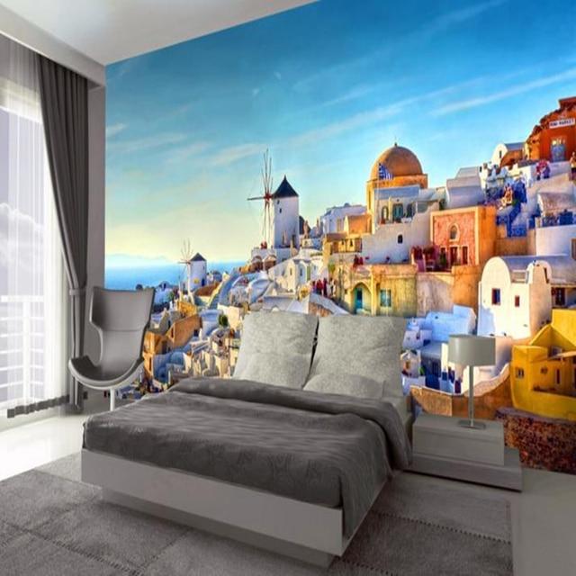 Custom 3d wall stickers romantic photo wall murals wallpaper 3d greek santorini love mural wall paper