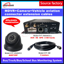 Factory Wholesale 4 Channel AHD 720P4G GPS Mobile DVR Aviation Head Wire 3 Meters Travel Car / Money Truck Big /bus MDVR