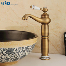 Azeta Classical Style Bathroom Faucet Brass Antique Basin Tap Single Handle Basin Mixer Deck Mounted Wash Basin Faucet AT8906HA pull out sprayer bathroom basin faucet mixer tap ceremic handle deck mounted antique brass