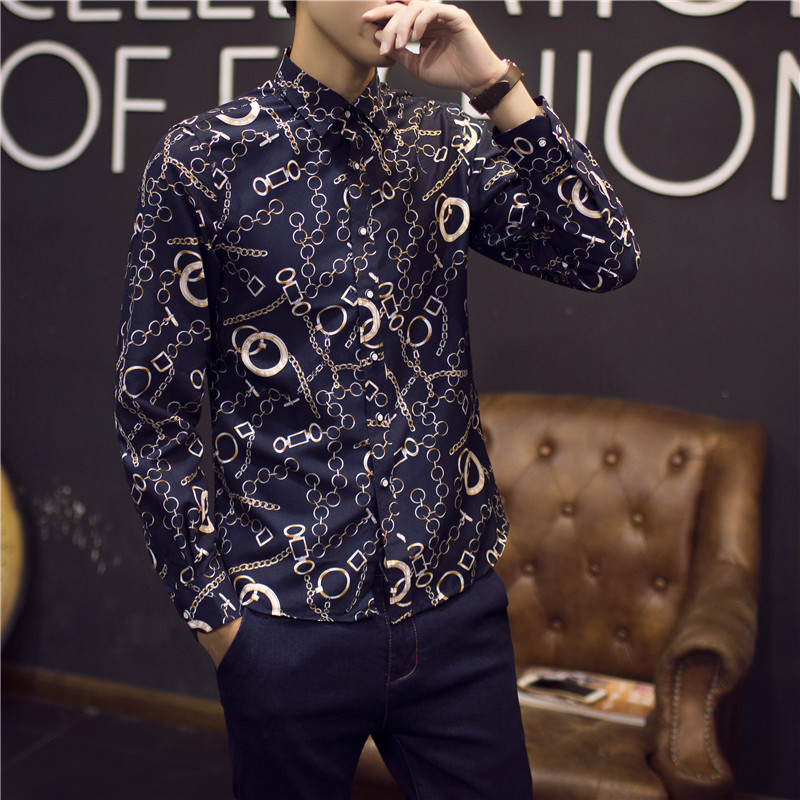 2019 męskie złote koszule koszulka Homme Marque Luxe Camisa  9FyXb