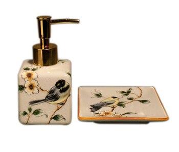 จีนเซรามิคแชมพูปั๊มบ้านเซรามิคแบบพกพา Liquid Soap Dispenser มือสบู่ขวดสองชิ้นจานสบู่ LFB271