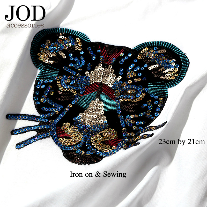JOD Large Bead Applique Embroidery Brand Leopard Head Cloth Patch Iron on T-shirt Sewing Applications Repair Sticker